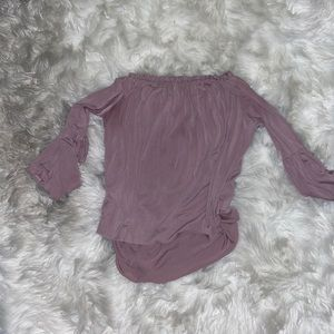 Lavender Field off the shoulder ruffle top